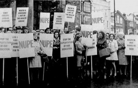 NHS workers on a National Union of Public Employees demonstration in Salisbury (Wiltshire), 13 December 1972