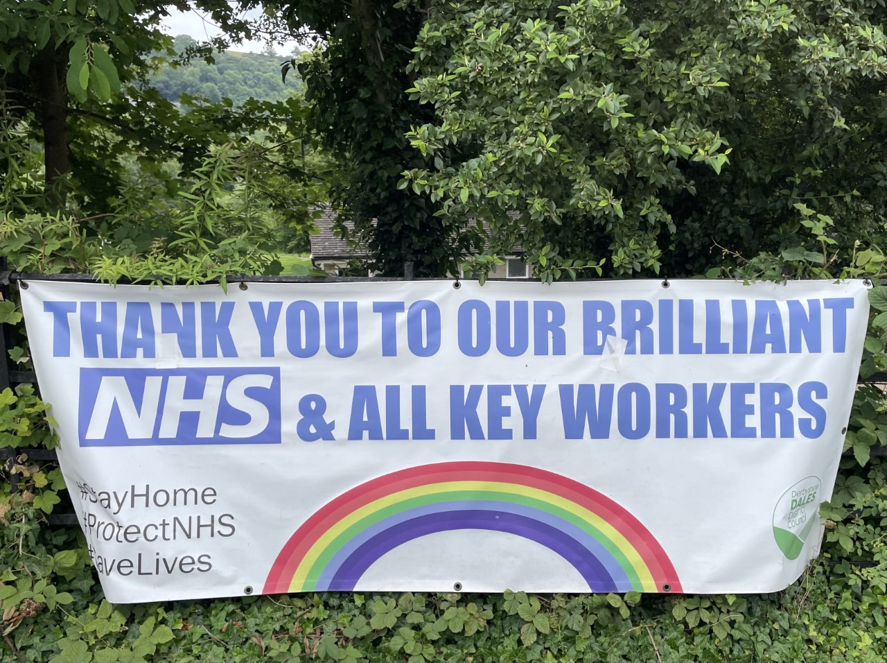 Another rainbow banner for thanking the NHS and all key workers